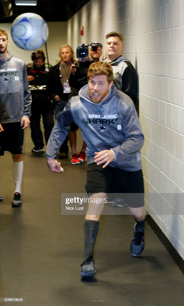 Joe Pavelski #8 of the San Jose Sharks warms up by playing soccer with his teammates prior to Game Two against the Nashville Predators of the Western Conference Second Round during the 2016 NHL Stanley Cup Playoffs at the SAP Center at San Jose on May 1, 2016 in San Jose, California.