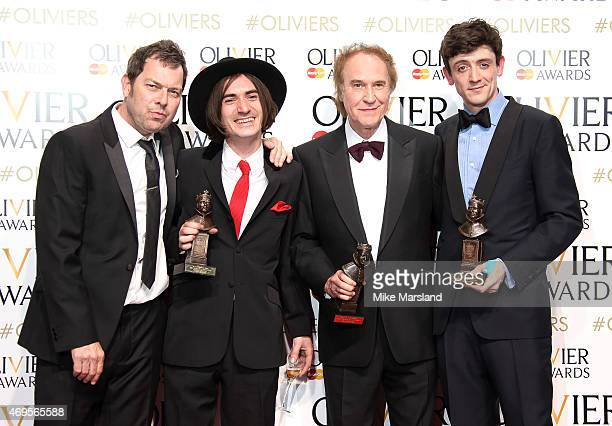 Joe Penhall George Maguire Ray Davies and John Dagleish pose in the winners room at The Olivier Awards at The Royal Opera House on April 12 2015 in...
