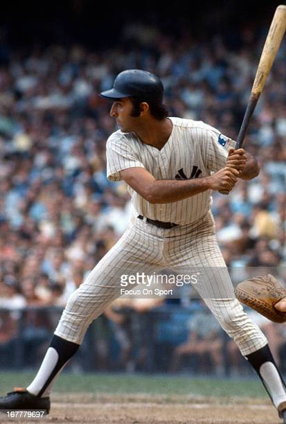 Joe Pepitone of the New York Yankees bats against the Oakland Athletics during an Major League Baseball game circa 1968 at Yankee Stadium in the...