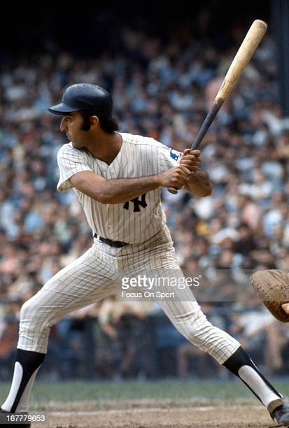 Joe Pepitone of the New York Yankees bats during an Major League Baseball game circa 1963 at Yankee Stadium in the Bronx borough of New York City...
