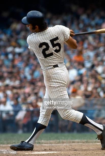 Joe Pepitone of the New York Yankees bats during an Major League Baseball game circa 1968 at Yankee Stadium in the Bronx borough of New York City...