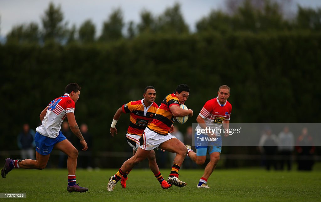 Joe Perawiti of Waikato makes a break during the Ranfurly Shield match between Waikato and Horowhenua-Kapiti at the Morrinsville Domain on July 17, 2013 in Morrinsville, New Zealand.
