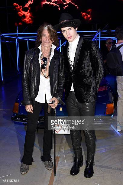 Joe Perry and Leon Else attend the Roberto Cavalli show during the Milan Menswear Fashion Week Spring Summer 2015 on June 24 2014 in Milan Italy