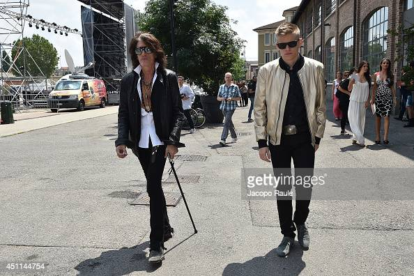 Joe Perry and Roman Perry arrive at the Roberto Cavalli show as part of Milan Fashion Week Menswear Spring/Summer 2015 on June 24 2014 in Milan Italy