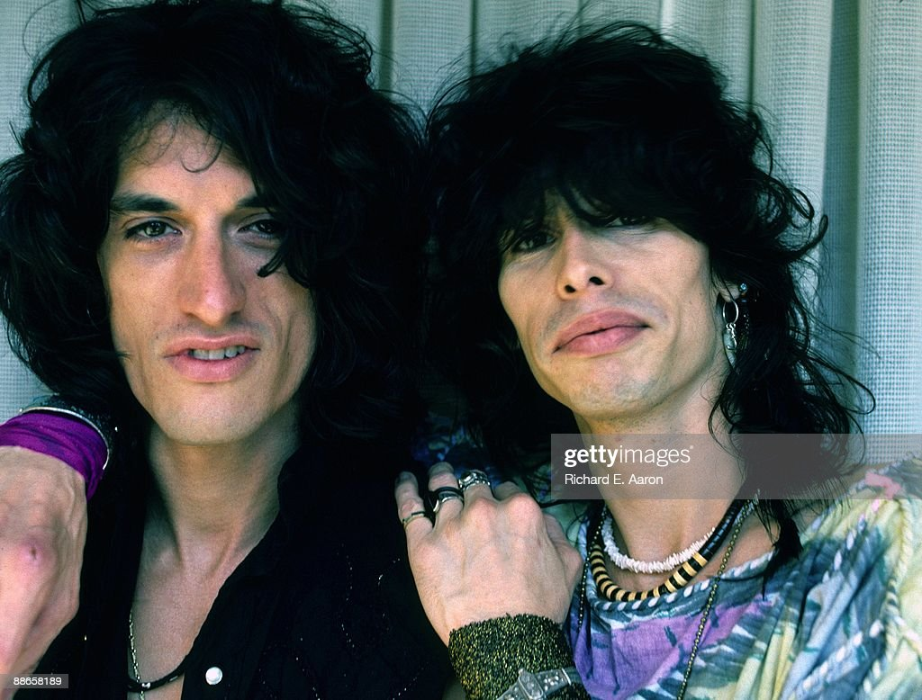 Joe Perry and Steven Tyler from the American rock band Aerosmith pose togther in August 1984 in Los Angeles California shortly after Perry rejoined...