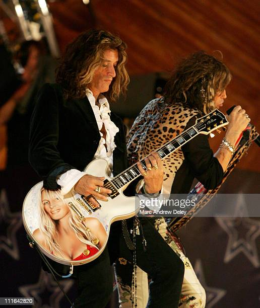 Joe Perry and Steven Tyler of Aerosmith during Boston POPS Fireworks Spectular Featuring Steven Tyler and Joe Perry of Aerosmith July 4 2006 at Hatch...