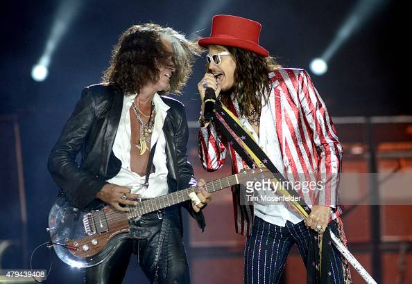 Joe Perry and Steven Tyler of Aerosmith perform during the band's 'Blue Army Tour 2015' at Harvey's Lake Tahoe Outdoor Amphitheater on July 3 2015 in...