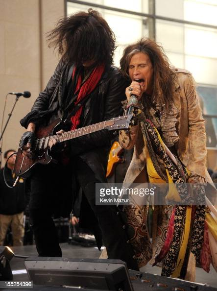 Joe Perry and Steven Tyler of Aerosmith perform on NBC's 'Today' at Rockefeller Plaza on November 2 2012 in New York City