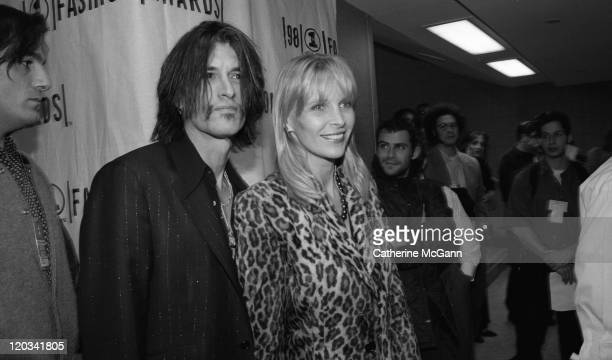 Joe Perry of Aerosmith and wife Billie backstage at the VH1 Fashion Awards in October 1998 in New York City New York