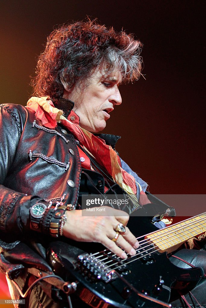 Joe Perry of Aerosmith performs at 02 Arena on June 15, 2010 in London, England.