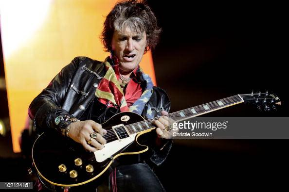 Joe Perry of Aerosmith performs on stage at O2 Arena on June 15 2010 in London England