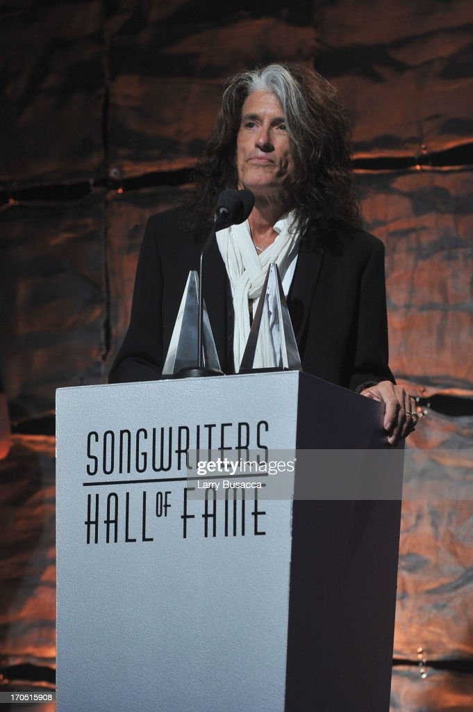 Joe Perry of Aerosmith speaks at the Songwriters Hall of Fame 44th Annual Induction and Awards Dinner at the New York Marriott Marquis on June 13, 2013 in New York City.