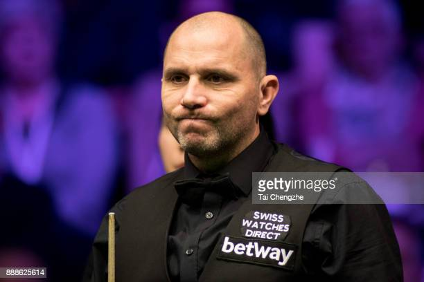 Joe Perry of England reacts during his quarterfinal match against Stephen Maguire of Scotland on day 12 of 2017 Betway UK Championship at Barbican...