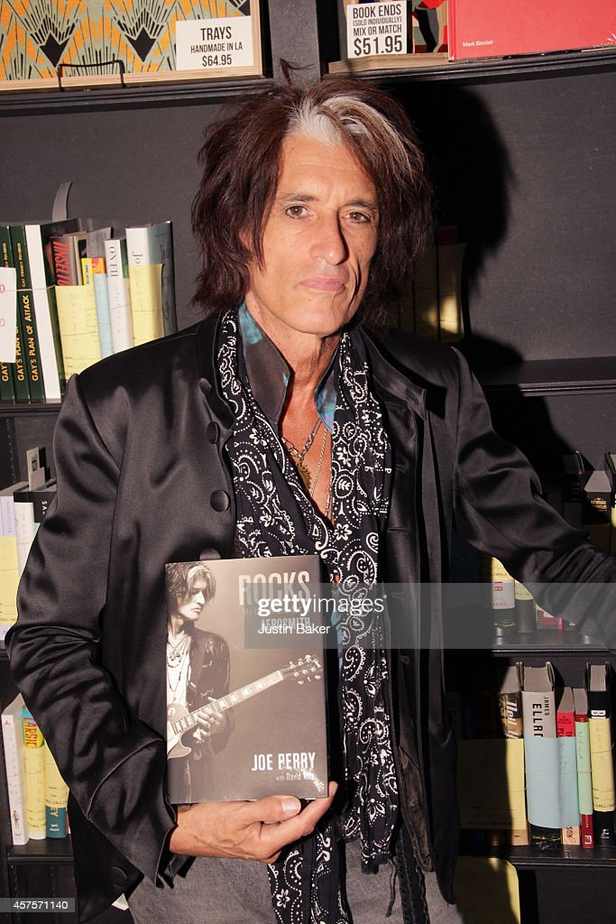 Joe Perry signs copies of his new book 'Rocks' at Book Soup on October 20 2014 in West Hollywood California