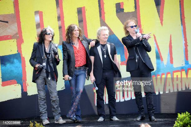 Joe Perry Steven Tyler Joey Kramer and Tom Hamilton attends Aerosmith Press Conference at The Grove on March 28 2012 in Los Angeles California