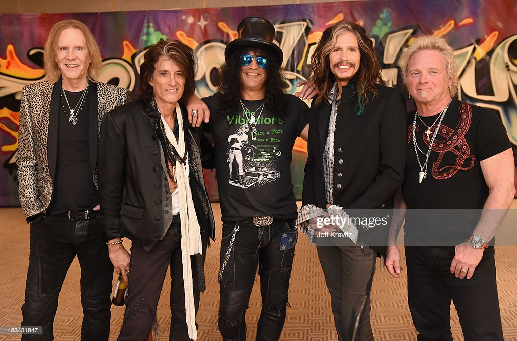 Joe Perry Tom Hamilton Slash Steven Tyler and Joey Kramer attend Aerosmith's summer 'Let Rock Rule' tour launch at Whisky a Go Go on April 8 2014 in...