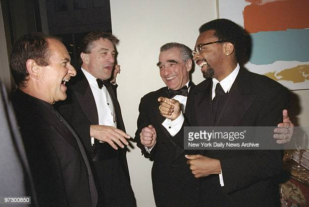 Joe Pesci Robert De Niro Martin Scorsese and Spike Lee share a laugh at the Film Society of Lincoln Center tribute to Scorsese at Avery Fisher Hall