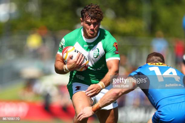 Joe Philbin of Ireland runs the ball during the 2017 Rugby League World Cup match between Ireland and Italy at Barlow Park on October 29 2017 in...