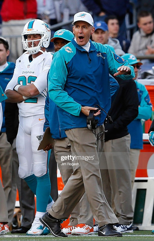 <a gi-track='captionPersonalityLinkClicked' href=/galleries/search?phrase=Joe+Philbin&family=editorial&specificpeople=2331822 ng-click='$event.stopPropagation()'>Joe Philbin</a> of the Miami Dolphins reacts to an official's call during a game with the New England Patriots in the first half at Gillette Stadium on October 27, 2013 in Foxboro, Massachusetts.