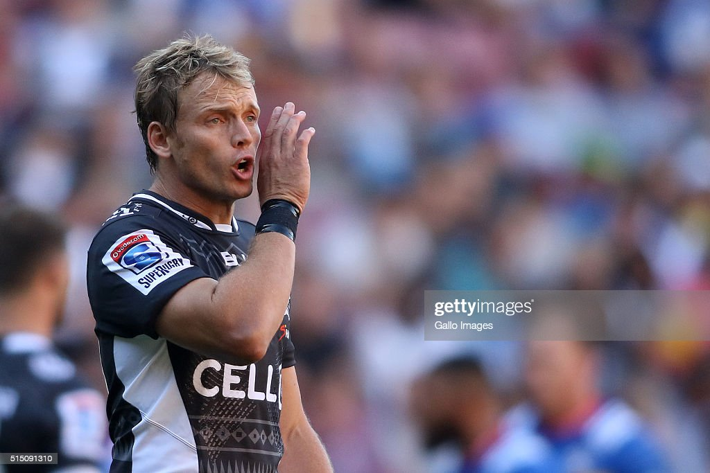 Joe Pietersen of the Sharks shouts during the 2016 Super Rugby match between DHL Stormers and Cell C Sharks at DHL Newlands on March 12 2016 in Cape...