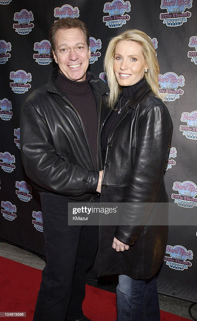 Joe Piscopo and wife Kimberly during Hard Rock Cafe Presents 'Little Steven's Underground Garage' radio show at the Hard Rock Cafe in NYC at Hard Rock Cafe NYC in New York City, New York, United States.