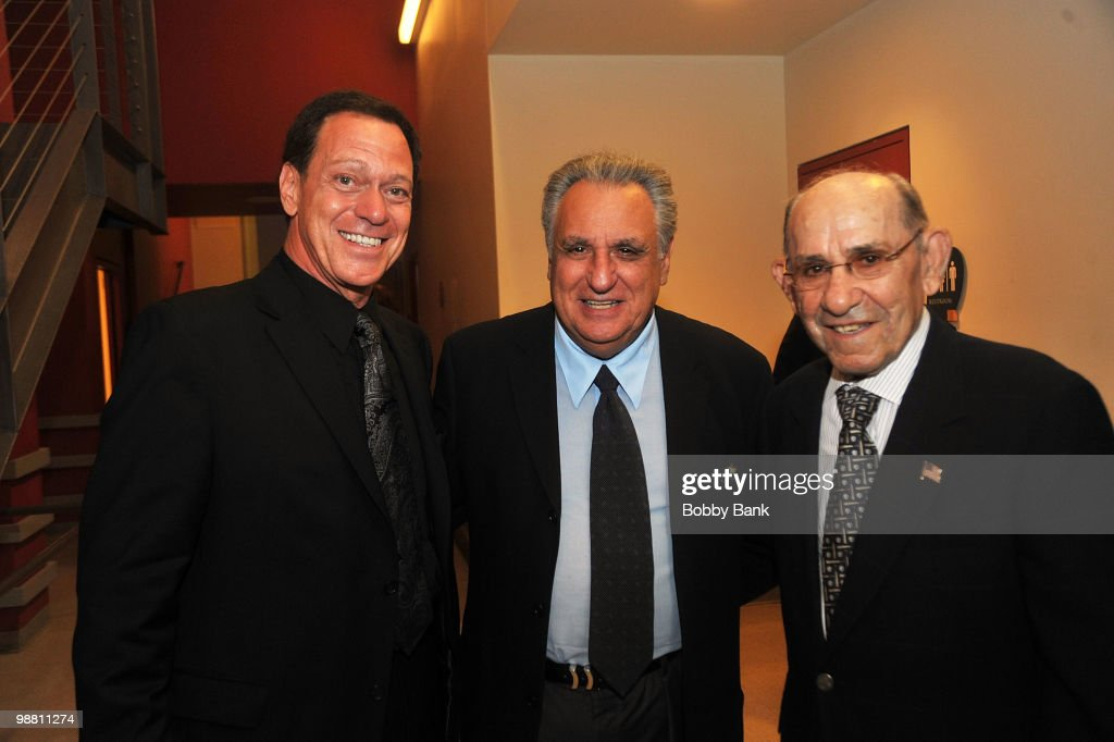 Joe Piscopo, Stewie Stone and Yogi Berra pose backstage at the 3rd Annual New Jersey Hall of Fame Induction Ceremony at the New Jersey Performing Arts Center on May 2, 2010 in Newark, New Jersey.
