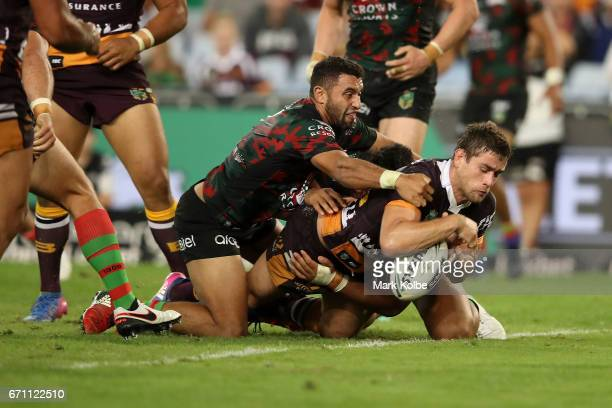 Joe Powell of the Broncos drops the ball over the line during the round eight NRL match between the South Sydney Rabbitohs and the Brisbane Broncos...