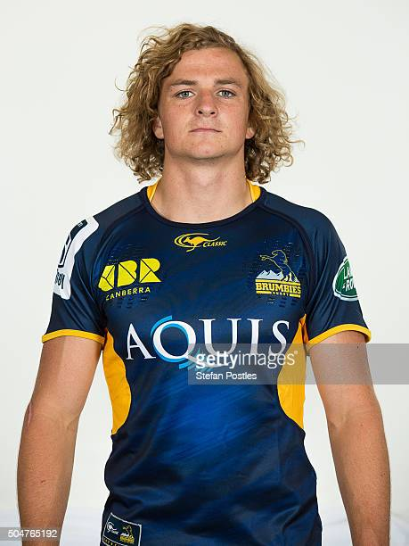 Joe Powell poses during the ACT Brumbies 2016 Super Rugby season headshots at Brumbies HQ on January 13 2016 in Canberra Australia