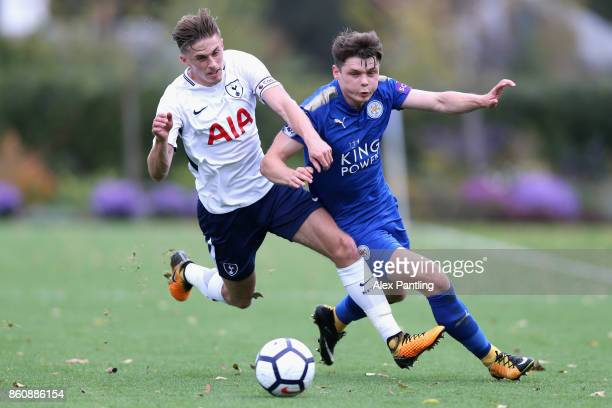 Joe Pritchard of Tottenham and Connor Wood of Leicester City in action during the Premier League 2 match between Tottenham Hotspur and Leicester City...