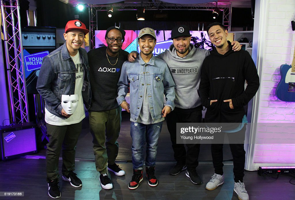 Joe 'Punkee' Larot Kevin 'KB' Brewer Phil 'Swagger Boy' Tayag Jeff 'Phi' Nguyen and Rynan 'Kid Rainen' Paguio of Jabbawockeez visits the Young...