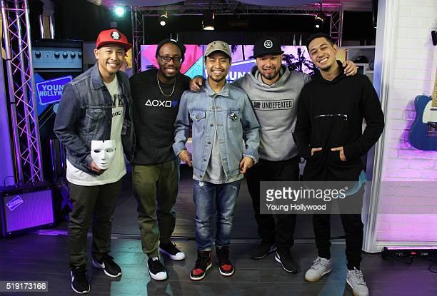 Joe 'Punkee' Larot Kevin 'KB' Brewer Phil 'Swagger Boy' Tayag Jeff 'Phi' Nguyen and Rynan 'Kid Rainen' Paguio of Jabbawockeez visits the Young...