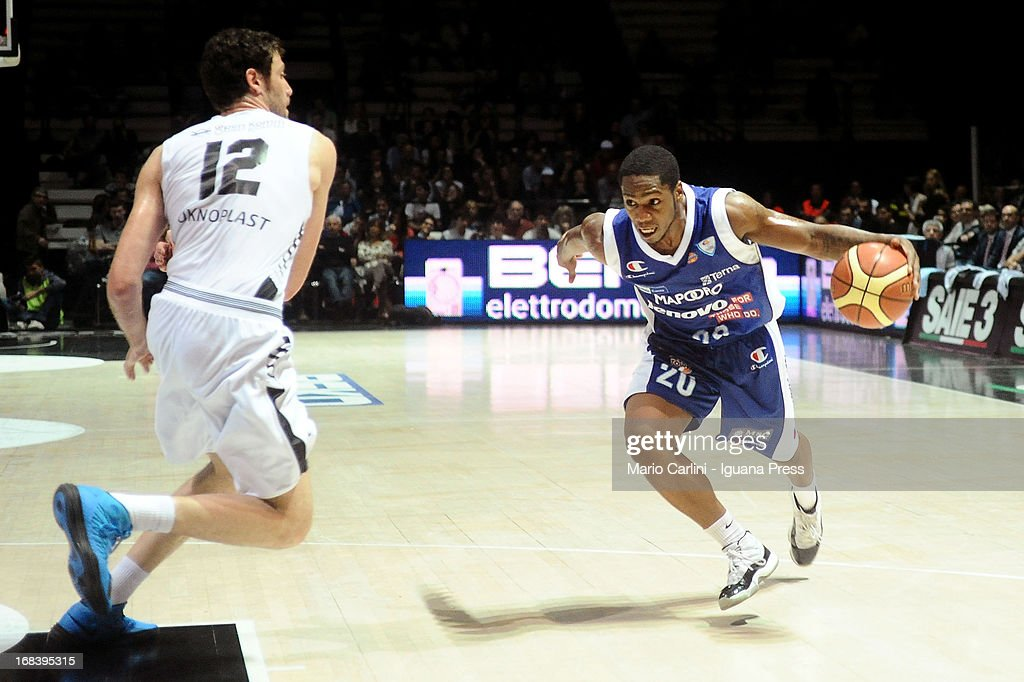 Joe Ragland of Lenovo competes with Angelo Gigli of Oknoplast during the LegaBasket A1 basketball match between Oknoplast Bologna and Lenovo Cantu at Unipol Arena on May 5, 2013 in Bologna, Italy.