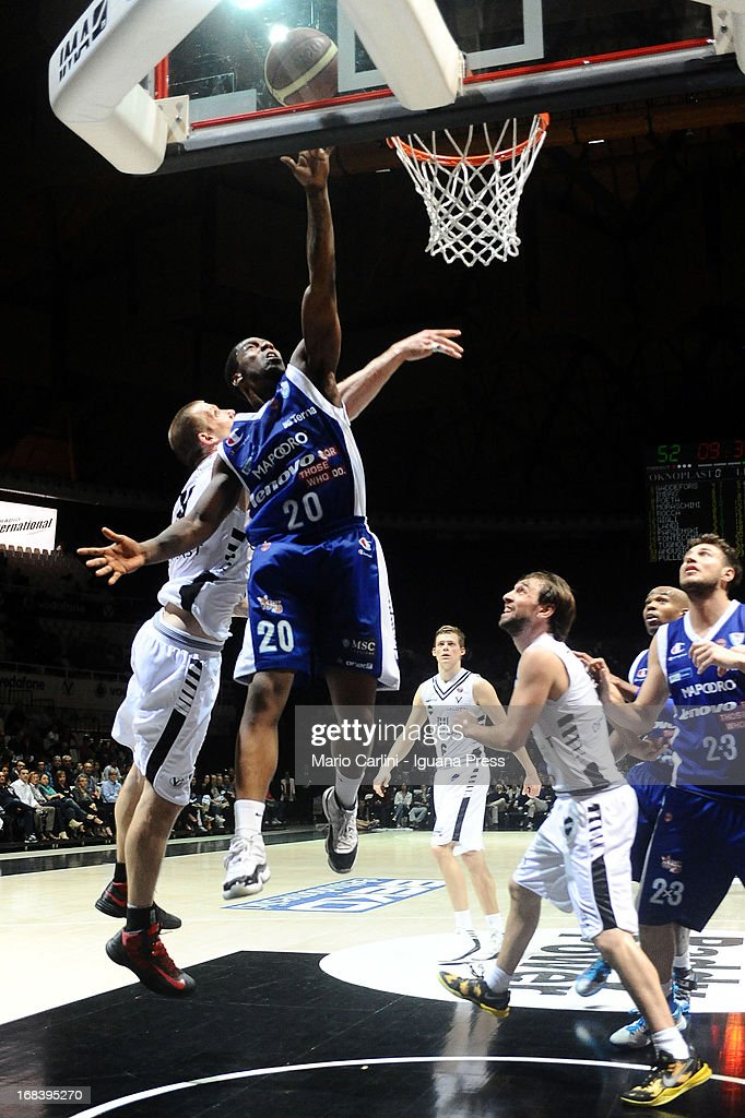 Joe Ragland of Lenovo competes with Mason Rocca of Oknoplast during the LegaBasket A1 basketball match between Oknoplast Bologna and Lenovo Cantu at Unipol Arena on May 5, 2013 in Bologna, Italy.