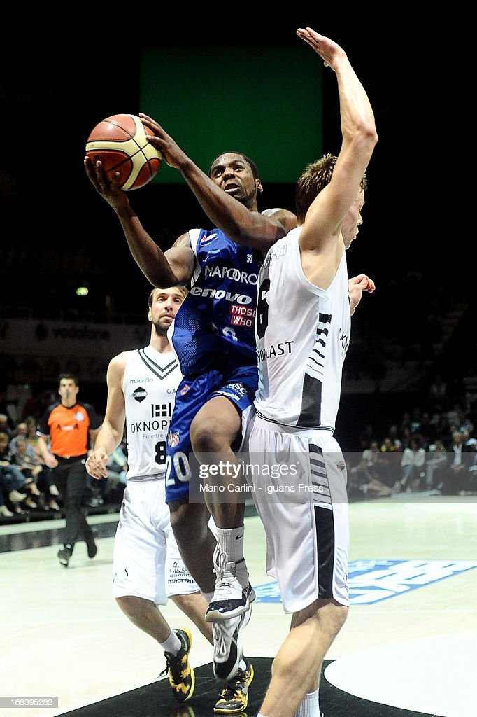 Joe Ragland of Lenovo competes with Viktor Gaddefors of Oknoplast during the LegaBasket A1 basketball match between Oknoplast Bologna and Lenovo Cantu at Unipol Arena on May 5, 2013 in Bologna, Italy.