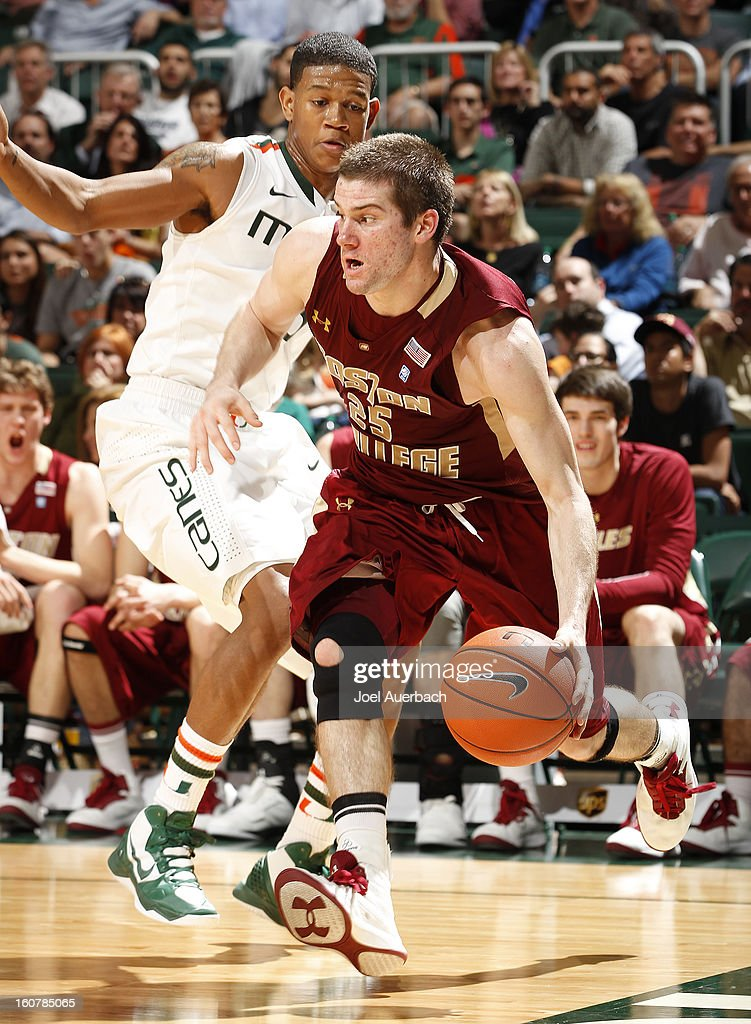 Joe Rahon #25 of the Boston College Eagles drives to the basket against the Miami Hurricanes on February 5, 2013 at the BankUnited Center in Coral Gables, Florida. The Hurricanes defeated the Eagles 72-50.