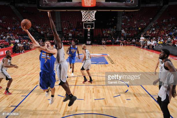 Joe Rahon of the Golden State Warriors shoots the ball against the LA Clippers on July 14 2017 at the Thomas Mack Center in Las Vegas Nevada NOTE TO...