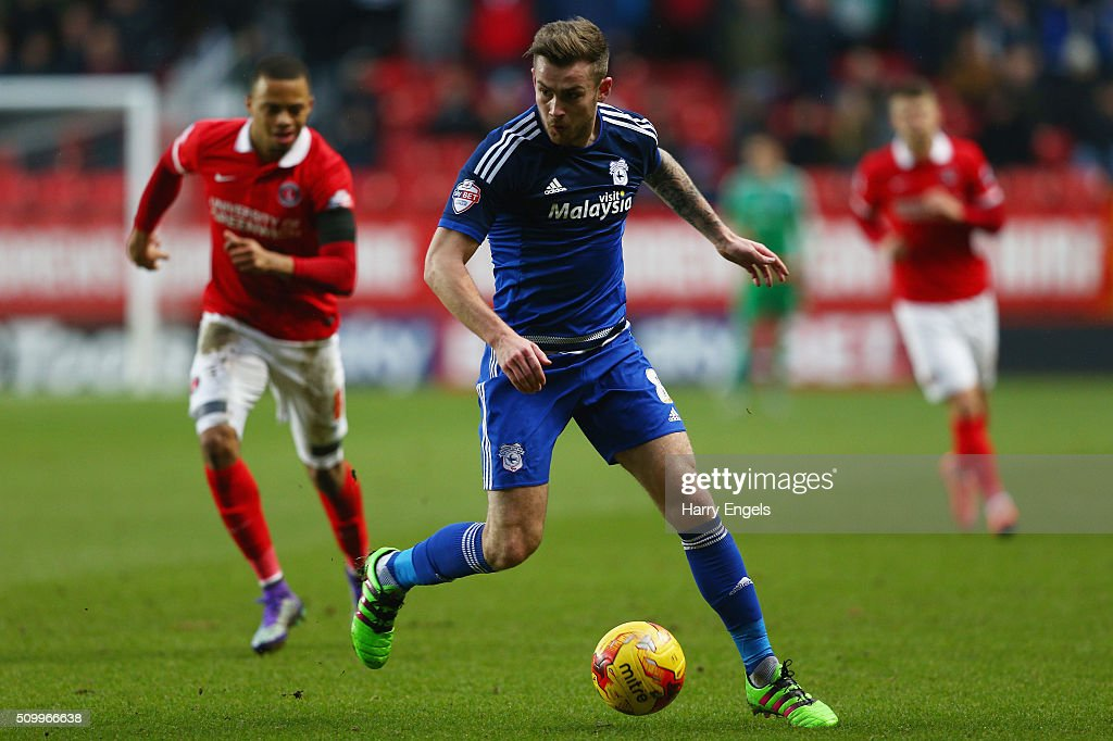 Joe Ralls of Cardiff controls the ball during the Sky Bet Championship match between Charlton Athletic and Cardiff City at The Valley on February 13, 2016 in London, United Kingdom.