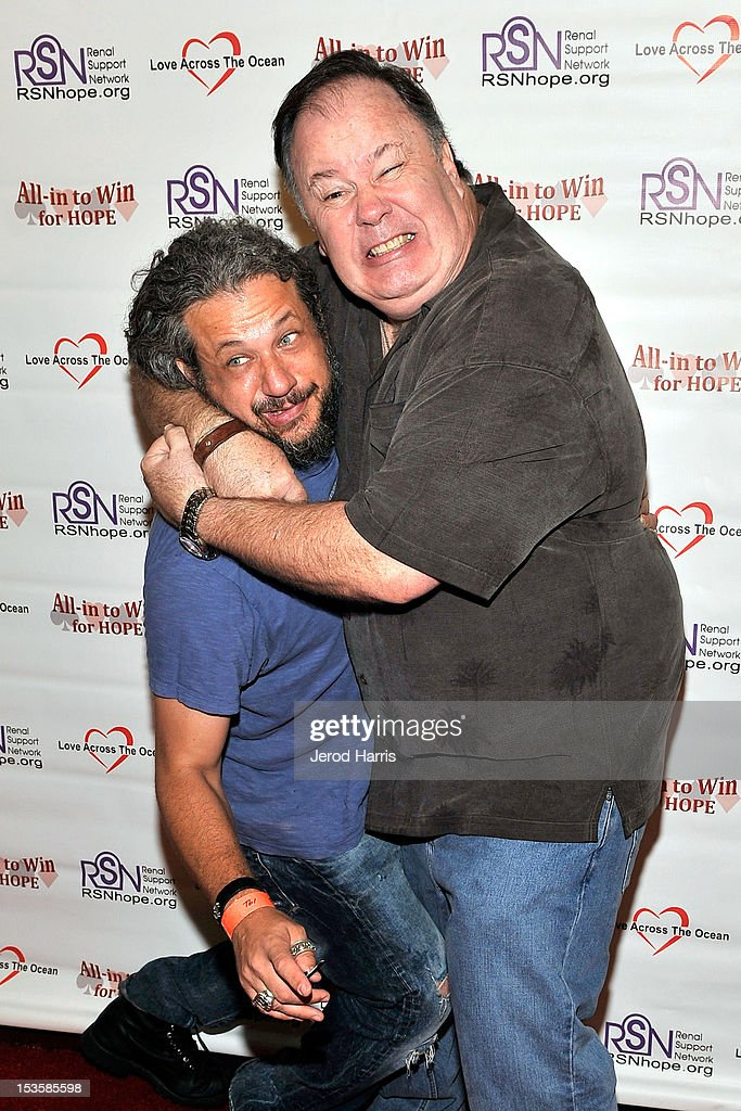 Joe Reitman and <a gi-track='captionPersonalityLinkClicked' href=/galleries/search?phrase=Dennis+Haskins&family=editorial&specificpeople=754824 ng-click='$event.stopPropagation()'>Dennis Haskins</a> arrive at 'In To Win For Hope' No Limit Texas Hold'em Celebrity Charity Poker Tournament at Commerce Casino on October 6, 2012 in City of Commerce, California.