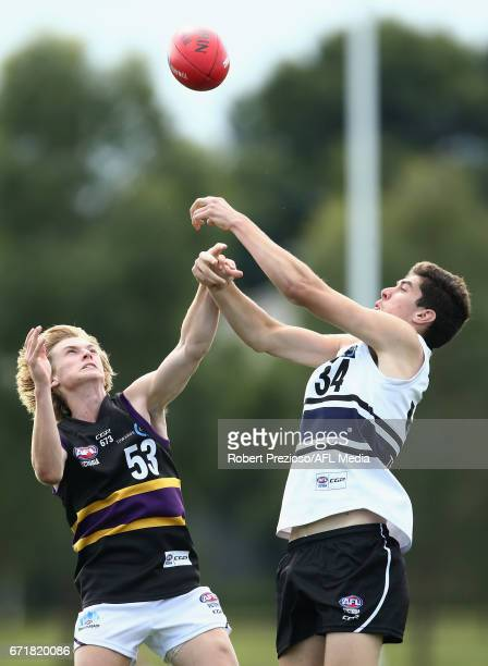 Joe Richards of the Bushrangers contests the ball during the round four TAC Cup match between the Northern Knights and the Murray Bushrangers at RAMS...