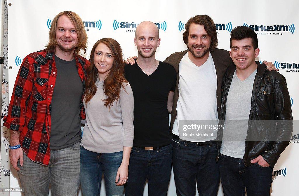 Joe Richmond, Bethany Kelly, Mike Morter, Tim Bruns and Tyler Rima of band Churchill visit the SiriusXM Studios on December 18, 2012 in New York City.