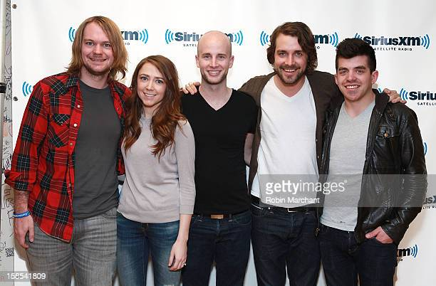 Joe Richmond Bethany Kelly Mike Morter Tim Bruns and Tyler Rima of band Churchill visit the SiriusXM Studios on December 18 2012 in New York City