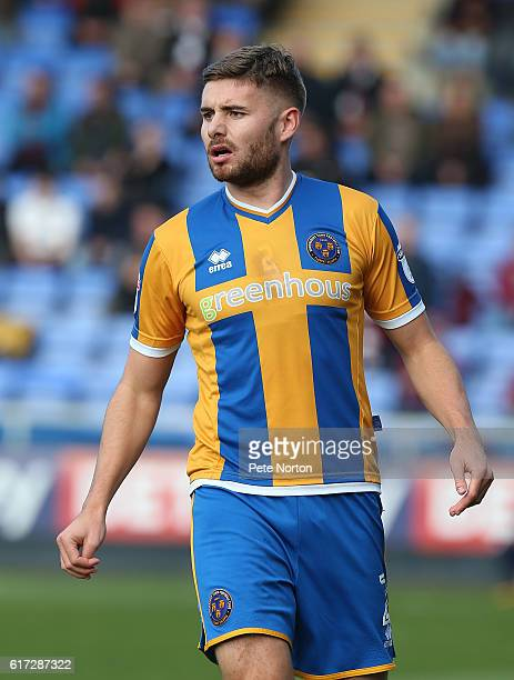 Joe Riley of Shrewsbury Town in action during the Sky Bet League One match between Shrewsbury Town and Northampton Town at Greenhous Meadow on...
