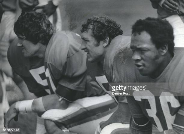 Joe Rizzo And His Bronco Defensive Pals Denver linebacker studies tense moment with Bob Swenson and Billy Thompson Credit Denver Post