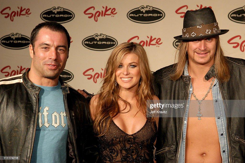Joe Rogan, Carmen Electra and Kid Rock during Spike TV's 1st Annual Autorox Awards - Arrivals at Barker Hanger in Santa Monica, California, United States.