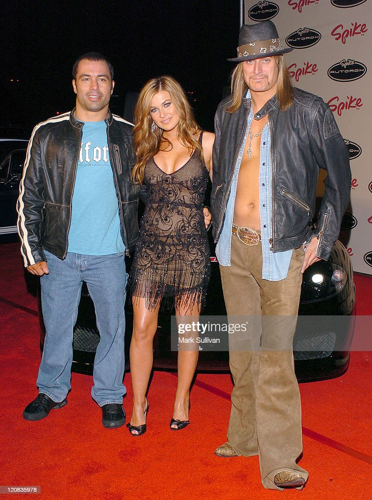 Joe Rogan, Carmen Electra and Kid Rock during Spike TV's AutoRox Auto Awards Show at Barker Hanger in Santa Monica, California, United States.