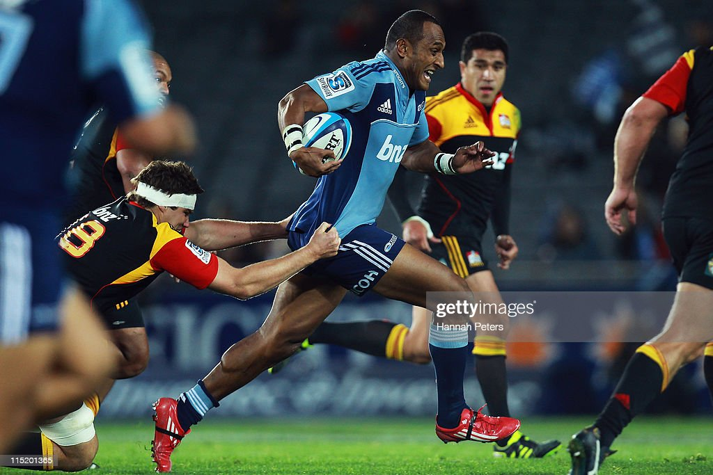Joe Rokococo of the Blues makes a break during the round 16 Super Rugby match between the Blues and the Chiefs at Eden Park on June 4 2011 in...
