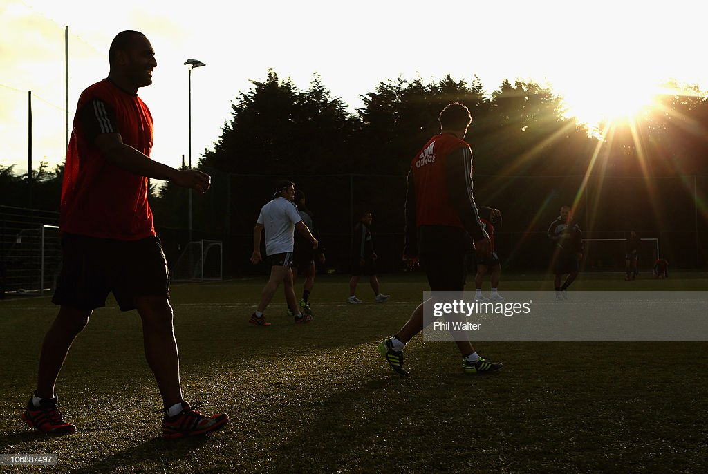 Joe Rokocoko and Jerome Kaino of the All Blacks play a game of soccer during a New Zealand All Blacks recovery session at Westmanstown on November 15...