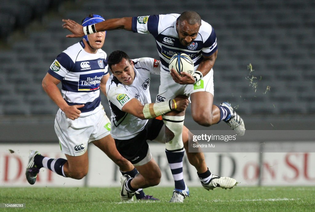 Joe Rokocoko of Auckland is tackled during the round 10 ITM Cup match between Auckland and Hawke's Bay at Eden Park on October 1 2010 in Auckland New...