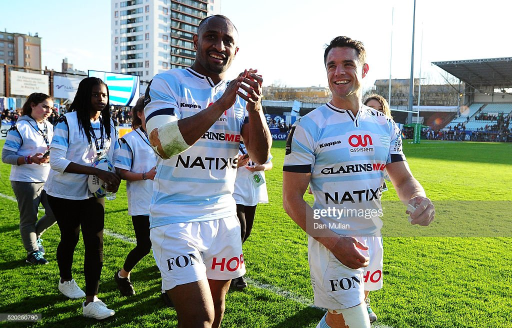 Joe Rokocoko of Racing 92 and Dan Carter of Racing 92 celebrate following their side's victory during the European Rugby Champions Cup Quarter Final...