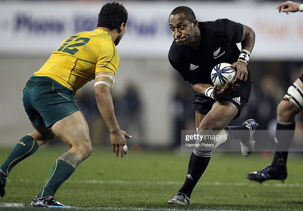 Joe Rokocoko of the All Blacks makes a break during the 2010 TriNations Bledisloe Cup match between the Australian Wallabies and the New Zealand All...